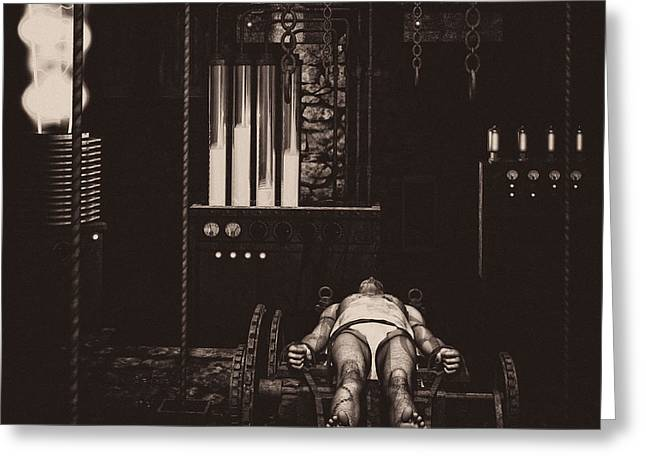 Mary Shelley Greeting Cards - Victor Frankensteins Lab Greeting Card by Bob Orsillo