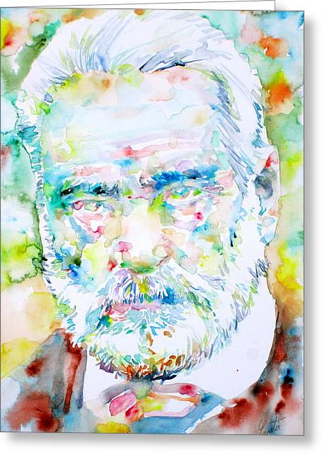 Victor Hugo Greeting Cards - VICTOR HUGO - watercolor portrait Greeting Card by Fabrizio Cassetta