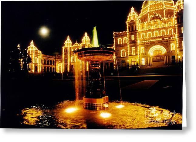 Victorain Fountain At Night Greeting Card by John Malone