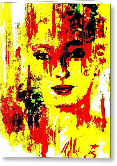 Face Of A Woman Greeting Cards - Victorene Greeting Card by P J Lewis