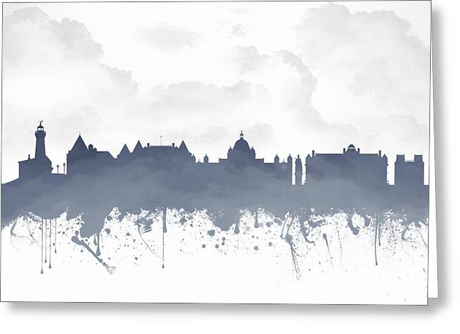 Columbia Mixed Media Greeting Cards - Victoria British Columbia Skyline - Blue 03 Greeting Card by Aged Pixel