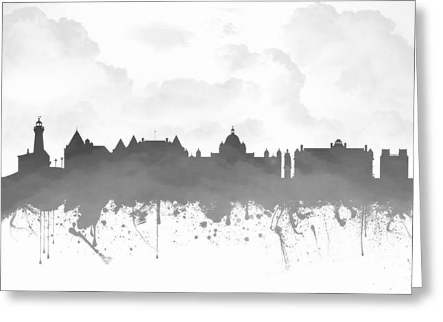Columbia Mixed Media Greeting Cards - Victoria British Columbia Skyline - Gray 03 Greeting Card by Aged Pixel