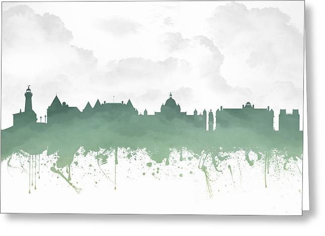 Columbia Mixed Media Greeting Cards - Victoria British Columbia Skyline - Green 03 Greeting Card by Aged Pixel