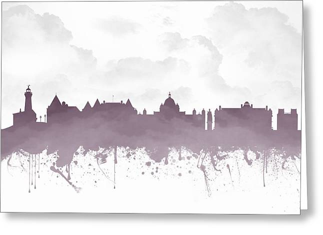 Columbia Mixed Media Greeting Cards - Victoria British Columbia Skyline - Purple 03 Greeting Card by Aged Pixel