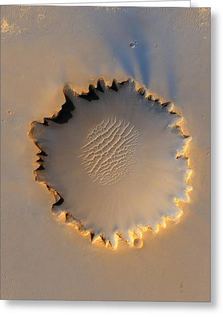 Victoria Crater Greeting Cards - Victoria crater Mars Greeting Card by Nasa