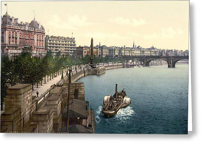 Print; Paddle Steamer Greeting Cards - Victoria Embankment, London, 1890s Greeting Card by Science Photo Library