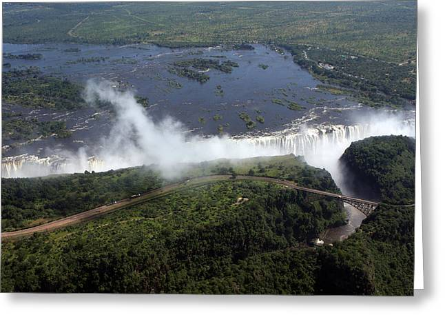 Zambezi River Greeting Cards - Victoria Falls  Greeting Card by Aidan Moran