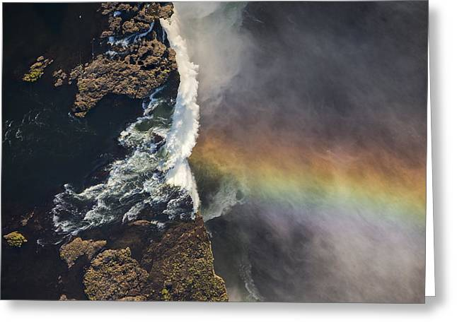 Victoria Falls And Rainbow Zimbabwe Greeting Card by Vincent Grafhorst