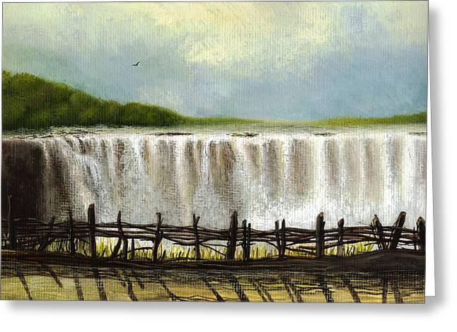 Zimbabwe Paintings Greeting Cards - Victoria Falls Greeting Card by Deborah Runham