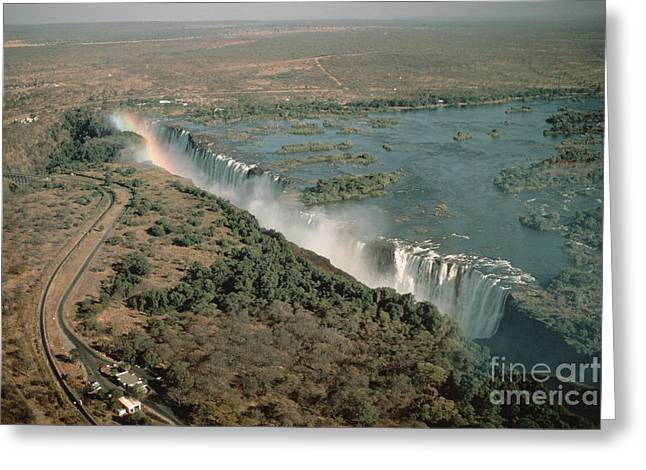 Zambia Waterfall Greeting Cards - Victoria Falls Greeting Card by Gregory G. Dimijian