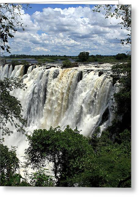 African Heritage Greeting Cards - Victoria Falls On The Zambezi River Greeting Card by Aidan Moran