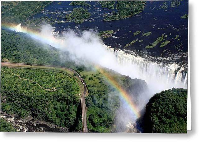 Rainbow Over Victoria Falls  Greeting Card by Aidan Moran
