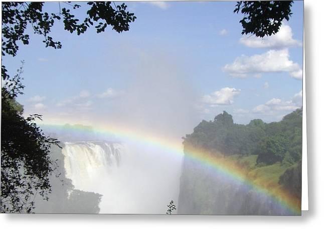 Victoria Falls Rainbow Greeting Card by Barbie Corbett-Newmin