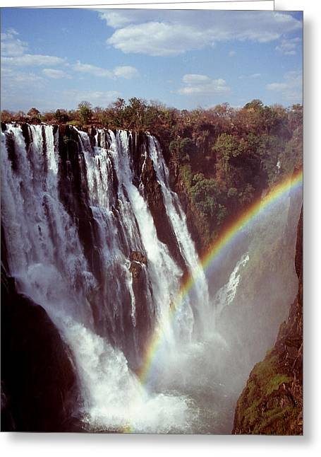 Stefan Carpenter Greeting Cards - Victoria Falls Rainbow Greeting Card by Stefan Carpenter