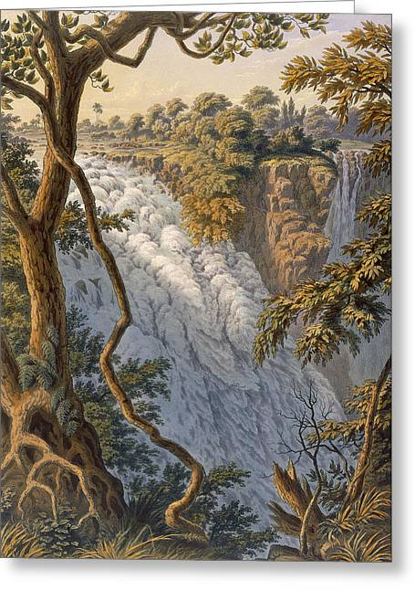 Zimbabwe Drawings Greeting Cards - Victoria Falls The Leaping Water Greeting Card by Thomas Baines
