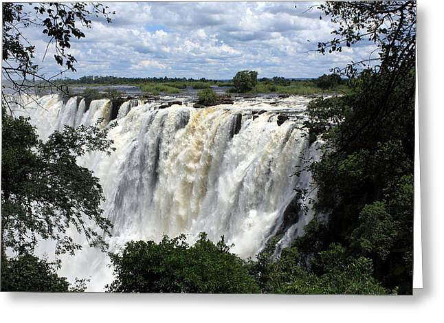 African Heritage Greeting Cards - Victoria Falls View  Greeting Card by Aidan Moran