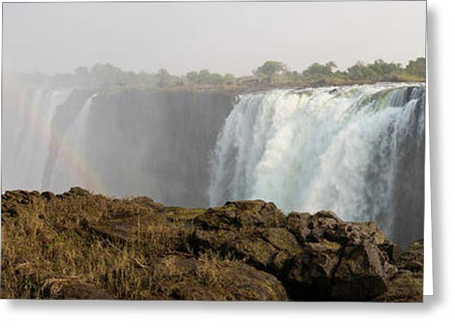 Victoria Falls With Rainbow Greeting Card by Panoramic Images