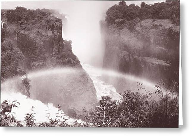Black And White Waterfall Greeting Cards - Victoria Falls Zimbabwe Africa Greeting Card by Panoramic Images