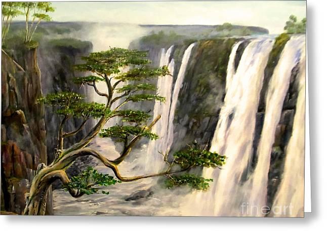 Zimbabwe Paintings Greeting Cards - Victoria Falls Zimbabwe  Greeting Card by Wayne Enslow