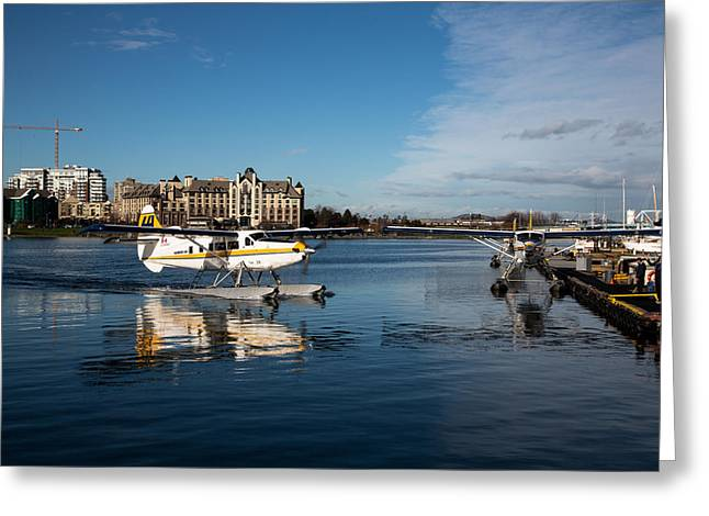Victoria Johns Greeting Cards - Victoria Floatplane Docking Greeting Card by John Daly