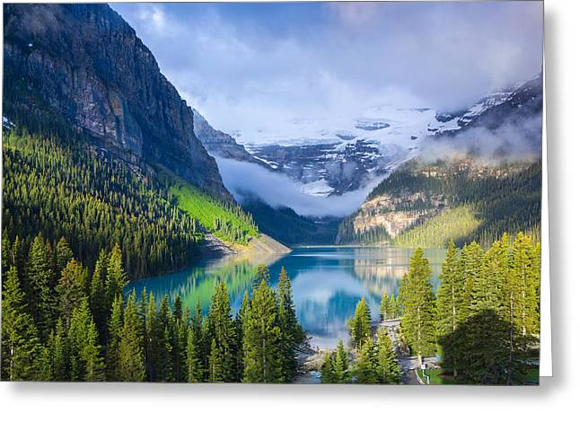 Peaceful Scenery Greeting Cards - Victoria Glacier on Lake Louise Greeting Card by Ami Parikh