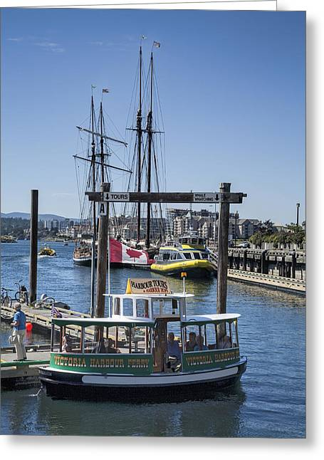 Water Vessels Greeting Cards - Victoria Harbor Ferry on Vancouver Island Greeting Card by Randall Nyhof
