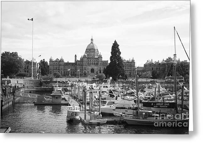 Docked Boat Greeting Cards - Victoria Harbour with Parliament Buildings - Black and White Greeting Card by Carol Groenen