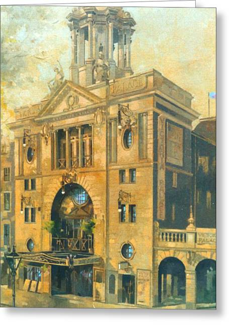 Victoria Greeting Cards - Victoria Palace Theatre Oil On Canvas Greeting Card by Peter Miller