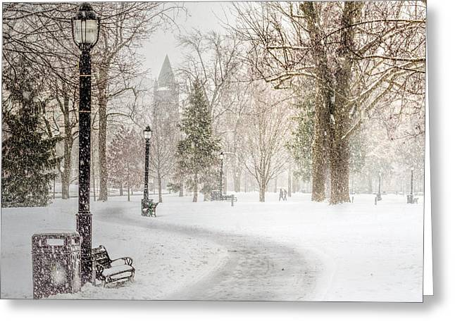 Snowstorm Prints Greeting Cards - Victoria Park Greeting Card by Garvin Hunter