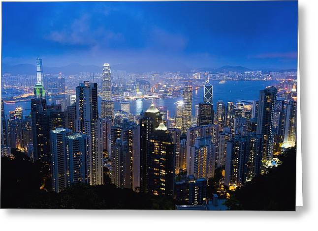 Kowloon Greeting Cards - Victoria Peak Hong Kong Island Greeting Card by Axiom Photographic