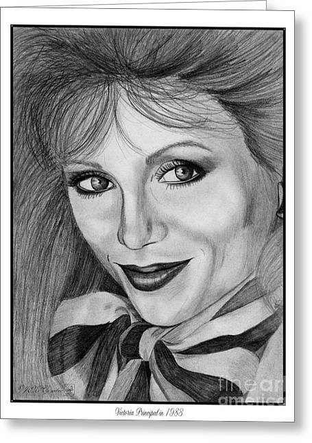 Fame Drawings Greeting Cards - Victoria Principal in 1983 Greeting Card by J McCombie
