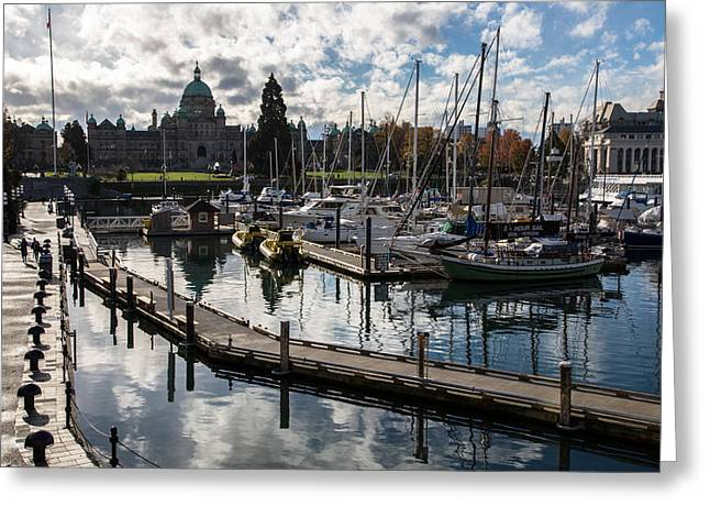 Victoria Johns Greeting Cards - Victoria Waterfront Greeting Card by John Daly