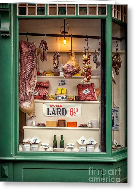 Signed Digital Greeting Cards - Victorian Butchers Greeting Card by Adrian Evans