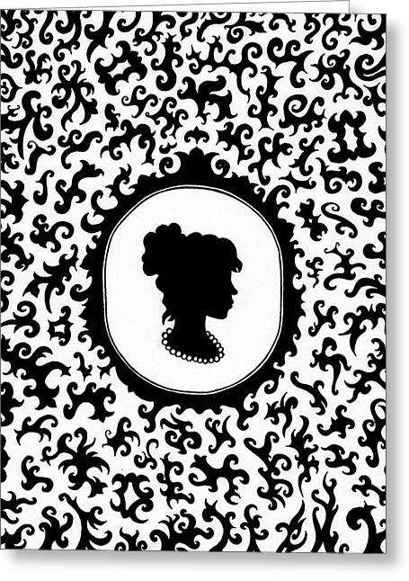 Cameo Drawings Greeting Cards - Victorian Cameo Greeting Card by Bonnie Leeman