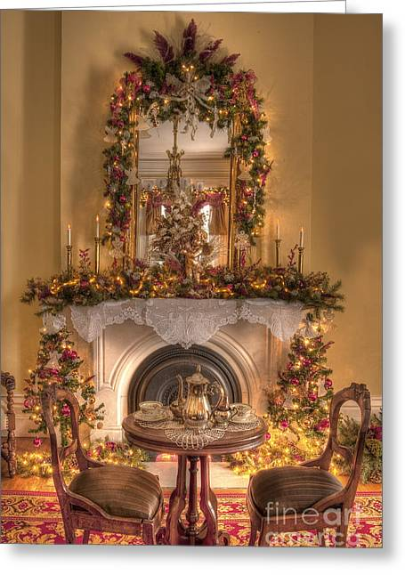 Interior Still Life Greeting Cards - Victorian Christmas by the Fire Greeting Card by Margie Hurwich