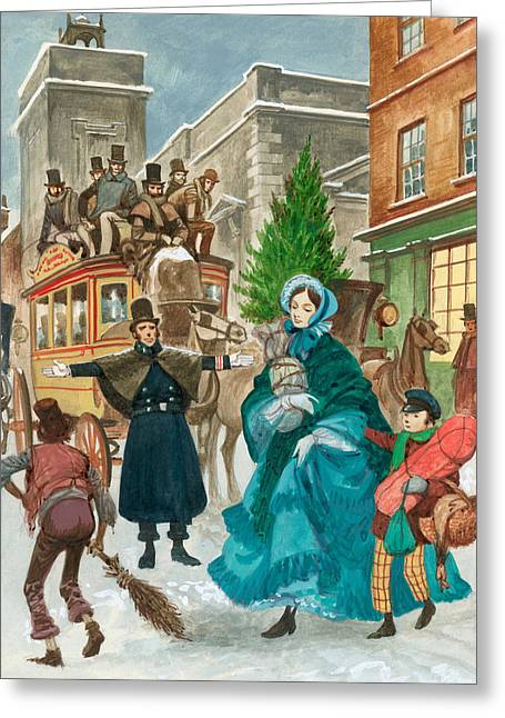 Police Christmas Card Greeting Cards - Victorian Christmas Scene Greeting Card by Peter Jackson
