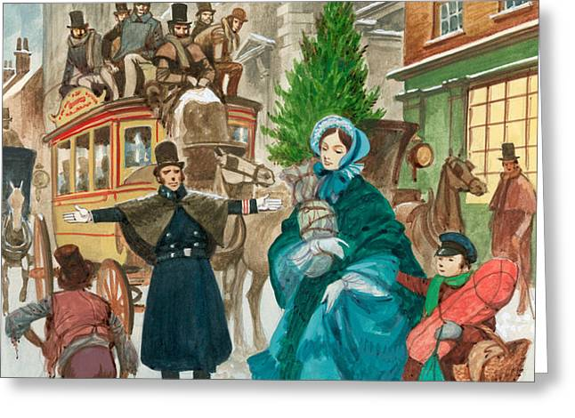 Victorian Christmas Scene Greeting Card by Peter Jackson