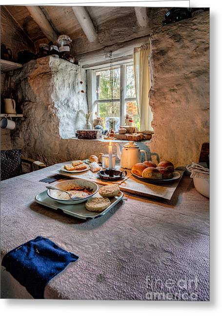 Victorian Cottage Breakfast Greeting Card by Adrian Evans