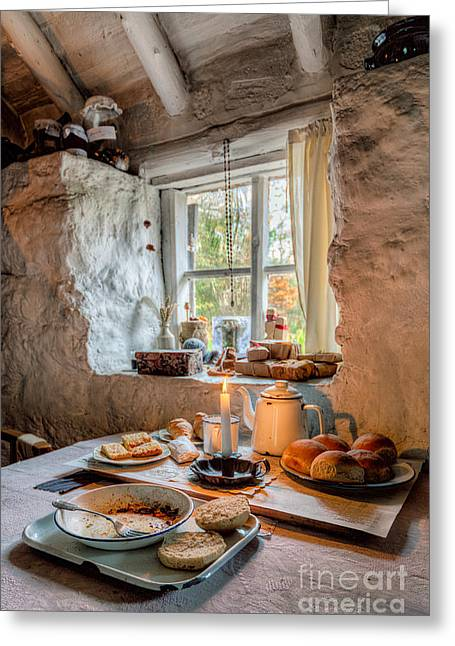 Working Class Greeting Cards - Victorian Cottage Breakfast v.2 Greeting Card by Adrian Evans