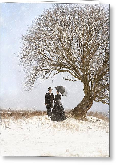 Husband Waiting Greeting Cards - Victorian Couple Beneath A Tree In Winter Greeting Card by Lee Avison