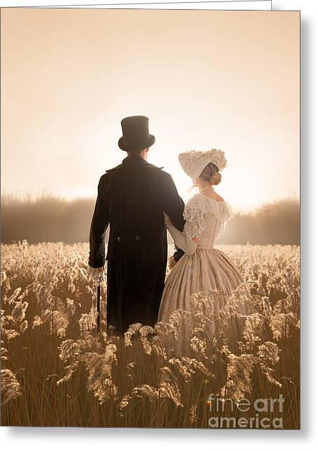 Woman In Summer Meadow Greeting Cards - Victorian Couple In A Meadow Greeting Card by Lee Avison