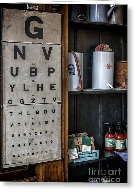Made Digital Art Greeting Cards - Victorian Eye Chart Greeting Card by Adrian Evans