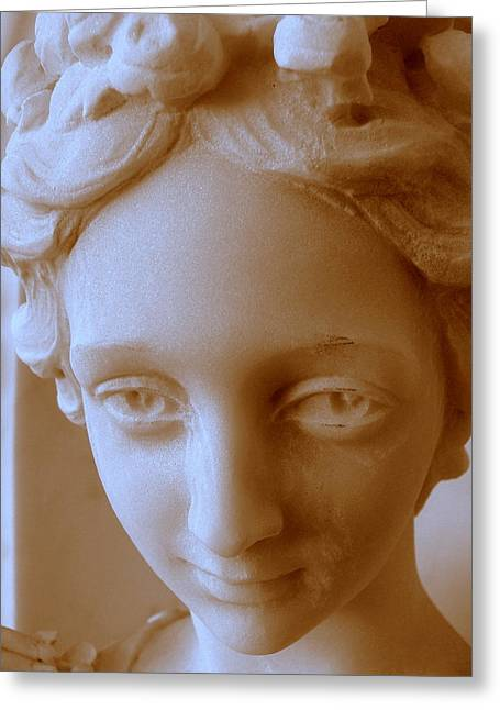 Roses In Her Hair Greeting Cards - Victorian Face Greeting Card by Jeff Lowe