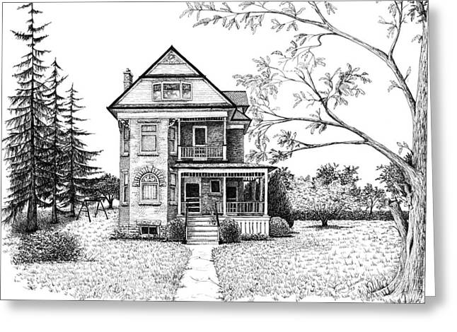 Pen And Ink Drawing Greeting Cards - Victorian Farmhouse Pen and Ink Greeting Card by Renee Forth-Fukumoto
