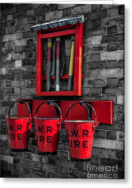 Selective Colouring Greeting Cards - Victorian Fire Buckets Greeting Card by Adrian Evans