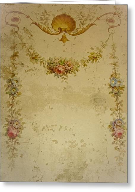 Texture Floral Greeting Cards - Victorian Floral Swag and Garland Greeting Card by Colleen Kammerer