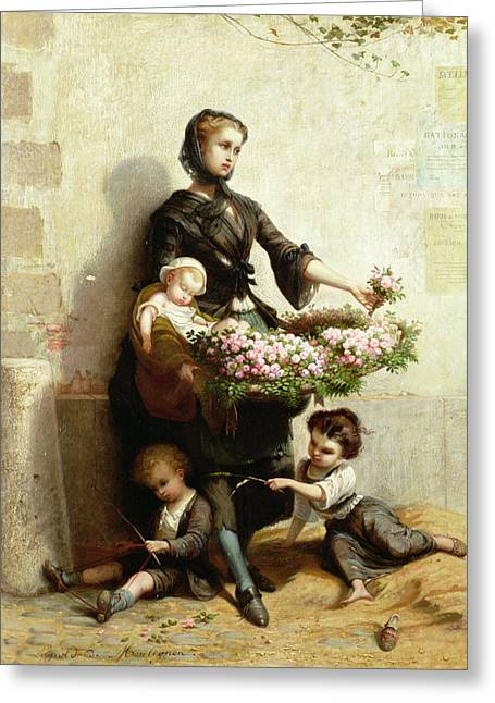 Poverty Greeting Cards - Victorian Flower Seller Greeting Card by Leopold de Moulignon