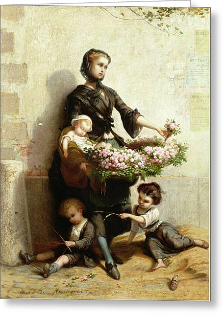 Victorian Flower Seller Greeting Card by Leopold de Moulignon