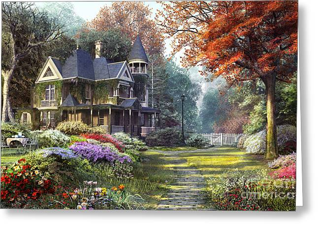 Path Greeting Cards - Victorian Garden Greeting Card by Dominic Davison