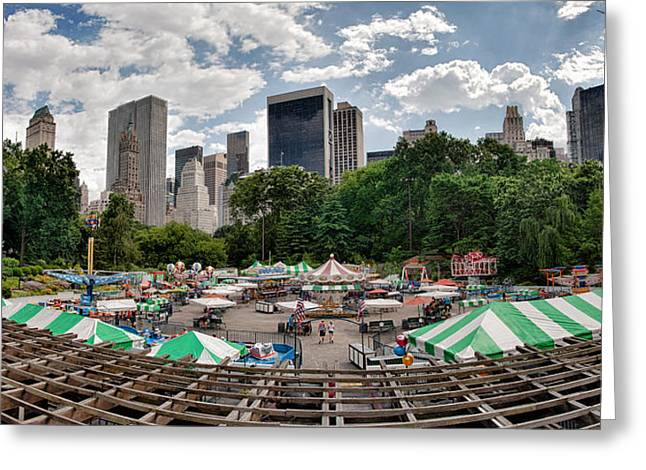 Wollman Rink Greeting Cards - Victorian Gardens Central Park Greeting Card by Kenneth Ortiz